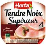 Herta Tendre Noix Ham with rind 4 slices 160g