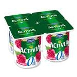 Danone Activia Raspberries yogurts 0% FAT 4x125g