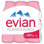 Evian Natural mineral still water 6x50cl
