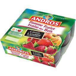 Andros Apple Strawberries & Wild Strawberries dessert 4x100g