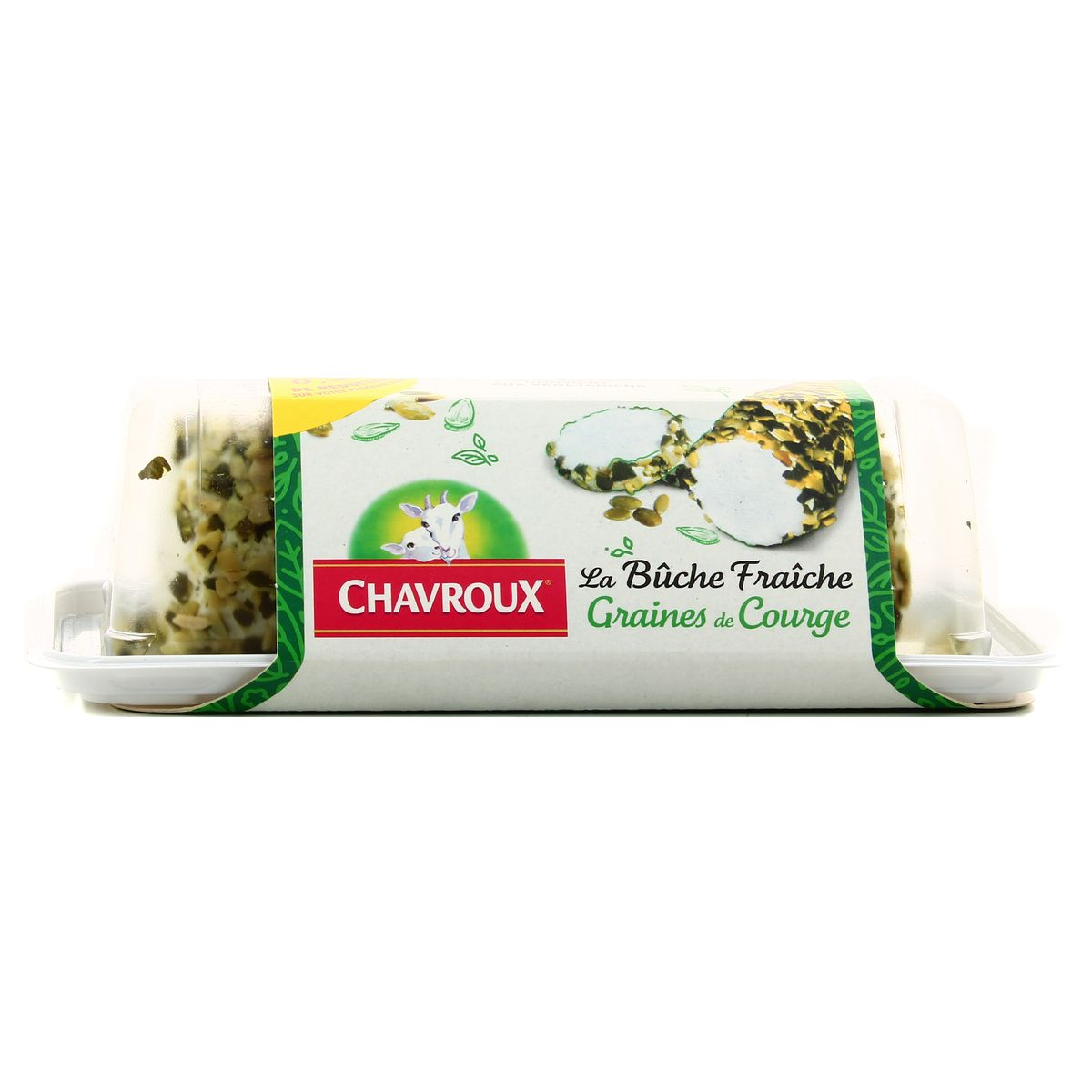 Chavroux fresh goat cheese buche with squash seed 150g