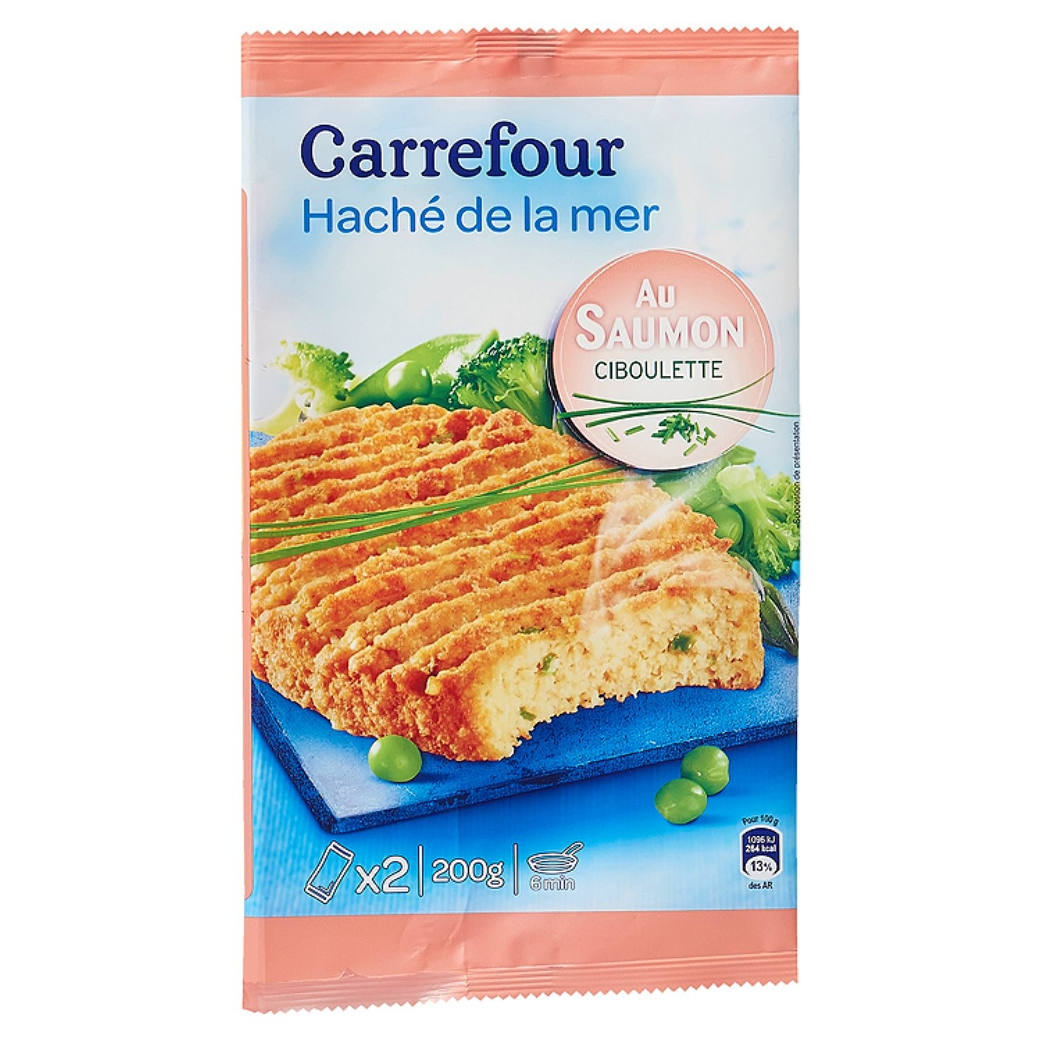 Carrefour Salmon steak with chive x2 100g