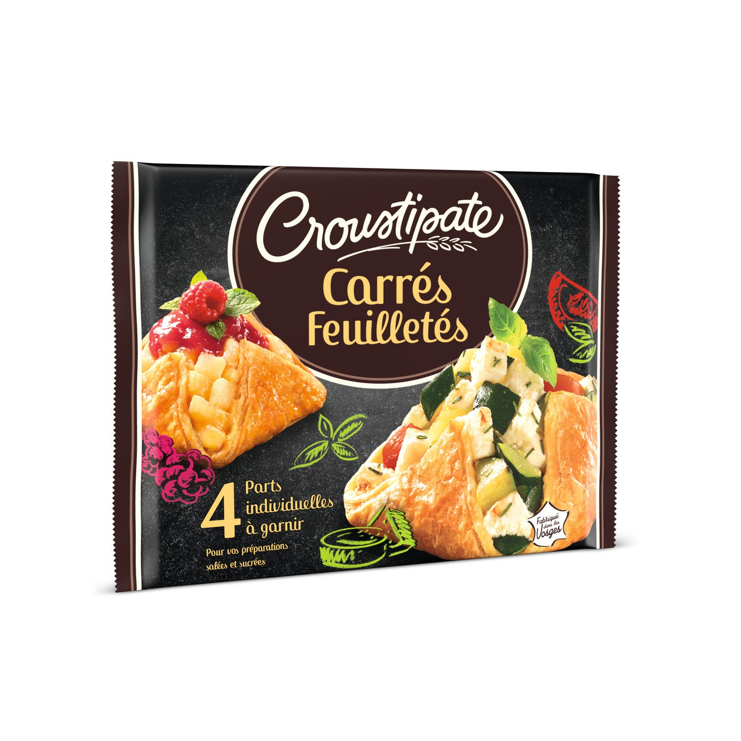 Croustipate Puff pastry squares x4 240g