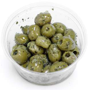 Green Pitted Marinated Olives with Fresh Rocket, Garlic & Basil per 100g* 100g