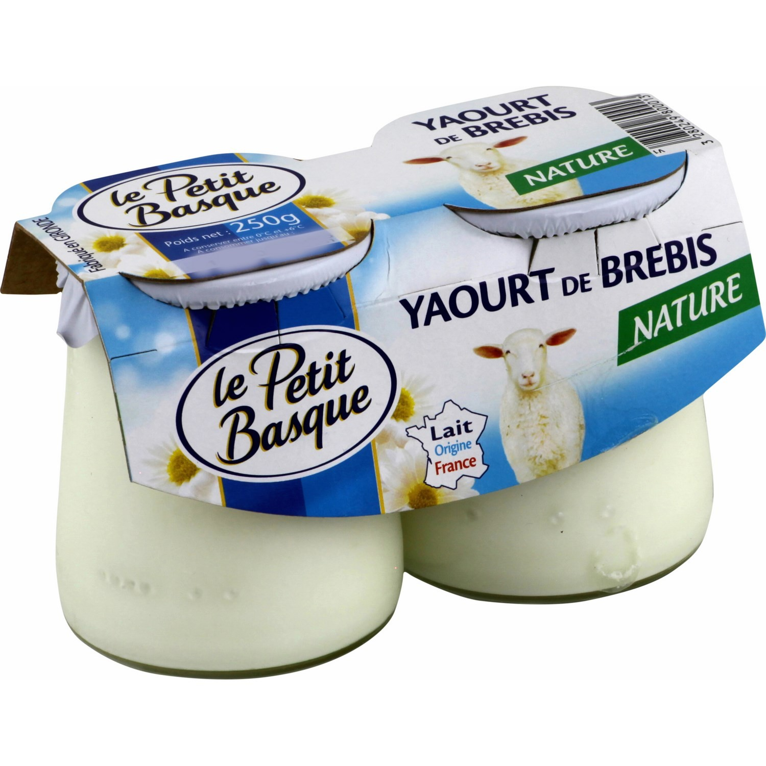 Le Petit Basque Plain sheep milk yoghurts 2x125g