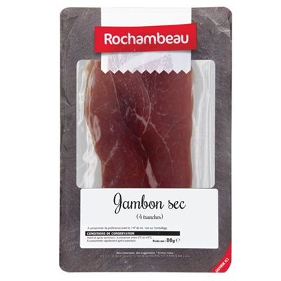 Rochambeau dry cured ham x4 slices 100g